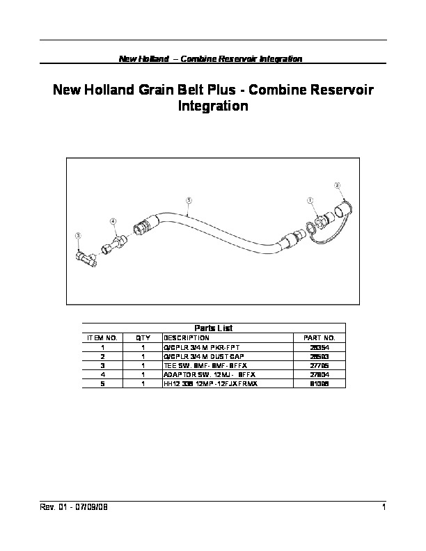 New Holland Grain Belt Plus Combine Reservoir Integration