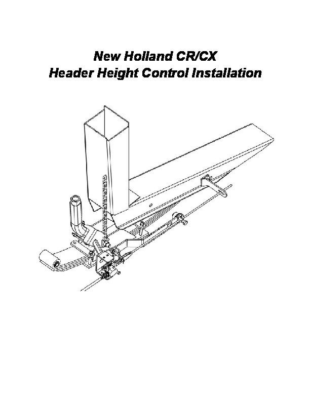 New Holland Header Height Control Owners Manual