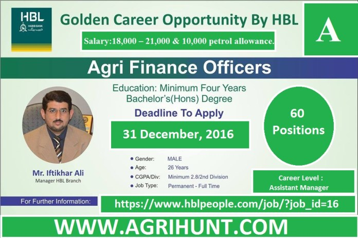 Agri Finance Officers Jobs in HBL