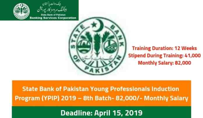 State Bank of Pakistan Young Professionals Induction Program (YPIP) 2019 – 8th Batch- 82,000/- Monthly Salary
