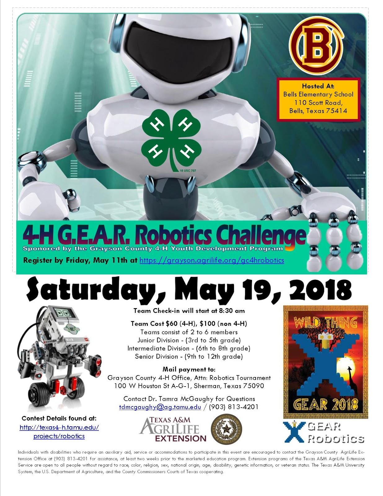 4-H GEAR Robotics Challenge DEADLINE