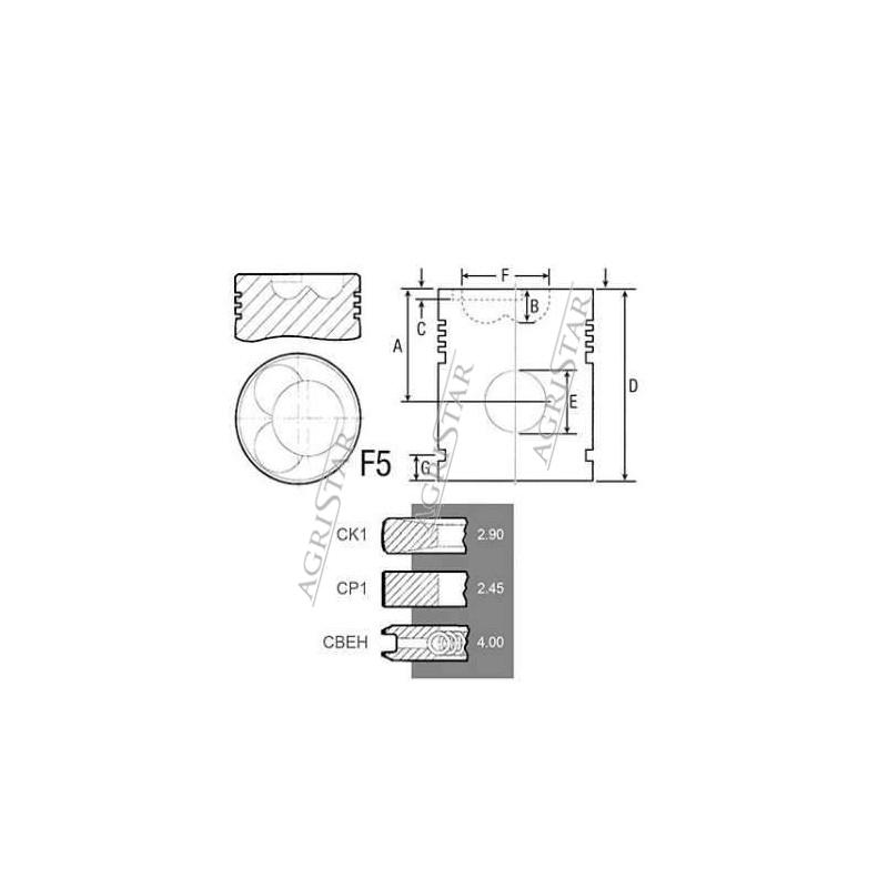 SCY3069 Tłok silnika Fendt 108,5mm