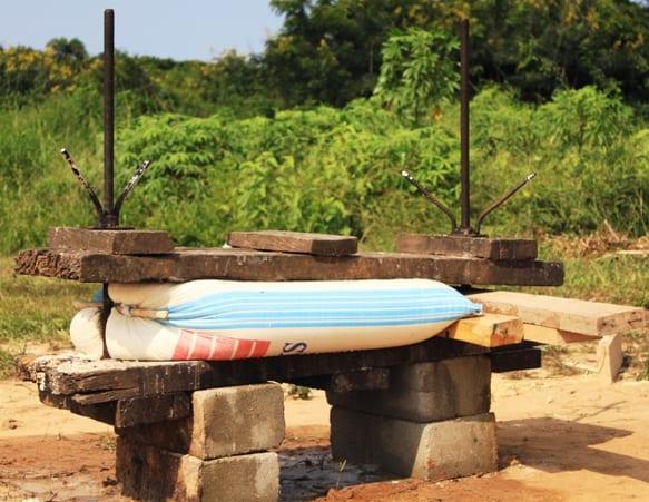 A local garri press for cassava processing into garri