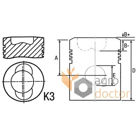Piston 102mm with wrist pin for DEUTZ FL913 engine, 33-107