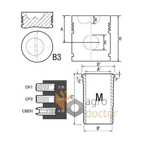Piston set 3139591R96 Case-IH, (3 rings) OEM:3139591R96
