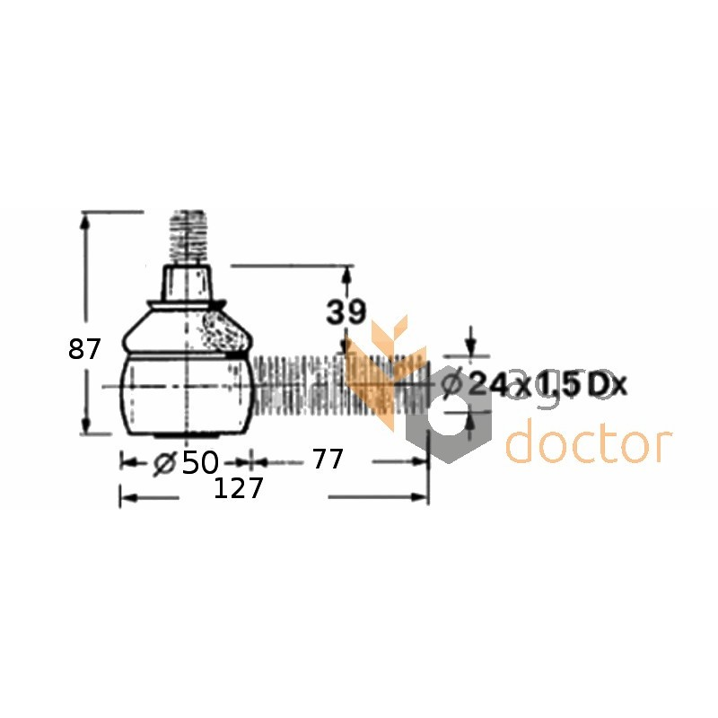 Threaded clevis pin 80350679 for header OEM:80350679 for