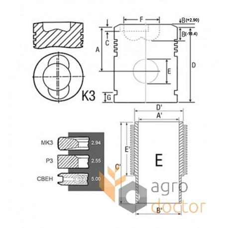 Piston kit set 02925625 Deutz engine, (3 rings), [Bepco
