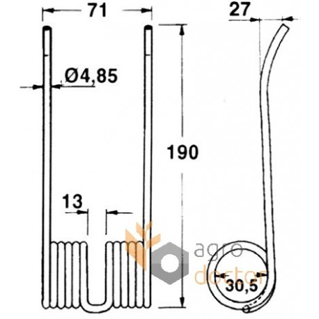 Double pick-up spring tine, 190mm OEM:80131673 for New