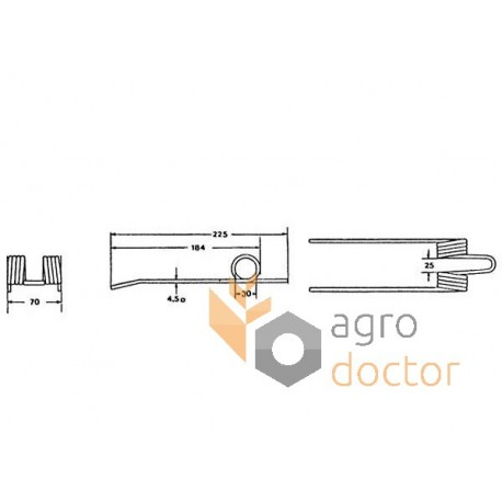 Pick-up spring tine, 230mm OEM:80161367, 161367 for New