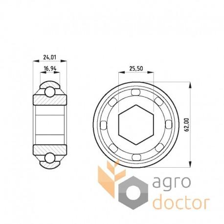 Hexagonal insert ball bearing JD9313 for John Deere [AM