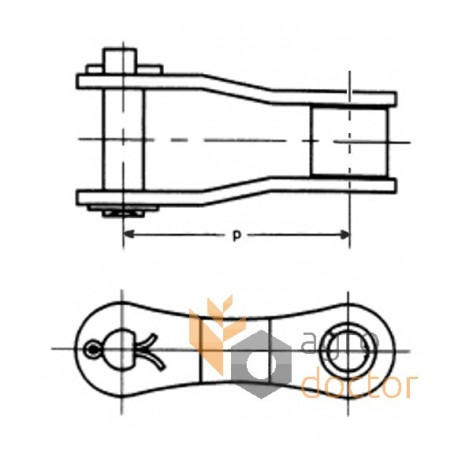 Roller chain offset link 680584 Claas OEM:680584