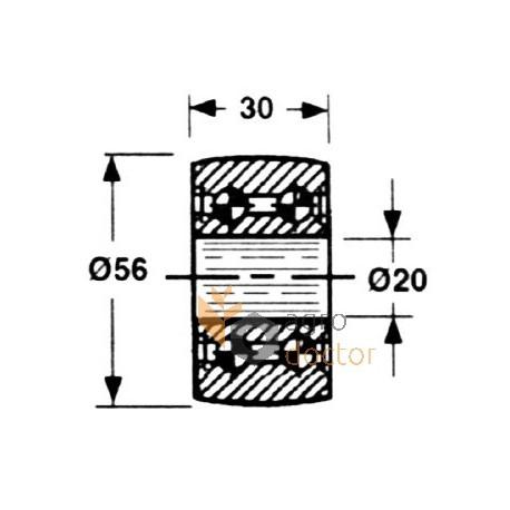 Piston roller 56x20 for Welger AP45 baler OEM:1115.16.04