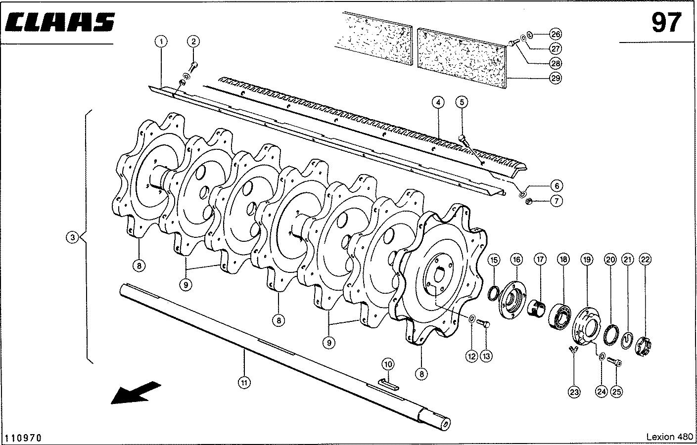Комбайн зерноуборочный Claas: Lexion 480:Молотилка Схема