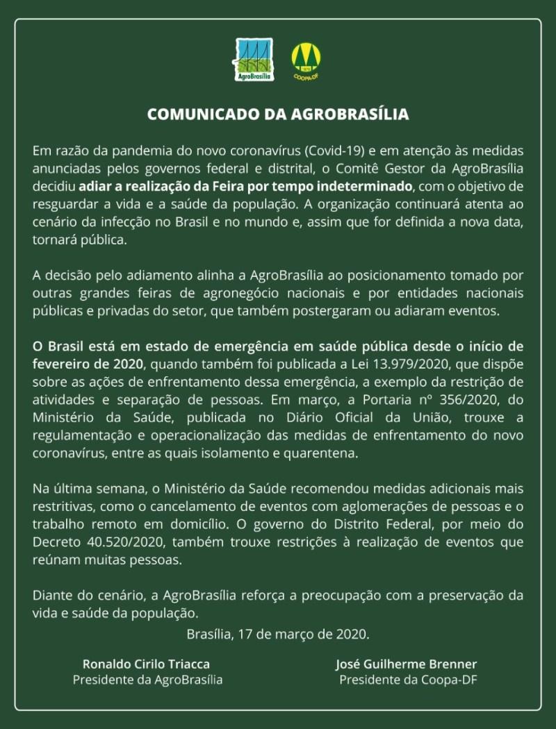 comunicado adiamento agrobrasilia 2020