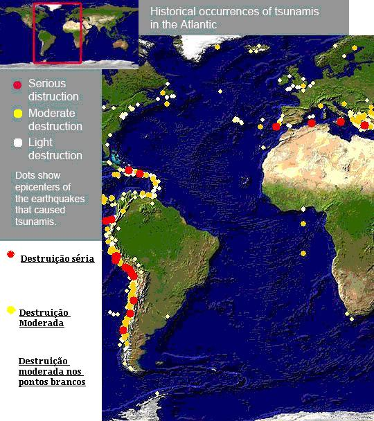 Locais de ocorrências de Tsunamis na área do Oceano Atlântico. Em vermelho houve séria destruição, em amarelo destruição moderada e em branco pequena destruição. fonte: geografiadovale.blogspot.com