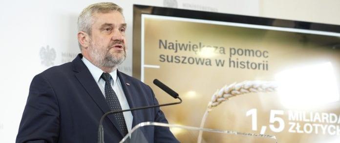 500 zł do hektara, pomic suszowa, pomoc dla rolników, susza, 1000 zł do hektara, Jan Krzysztof Ardanowski, minister rolnictwa,