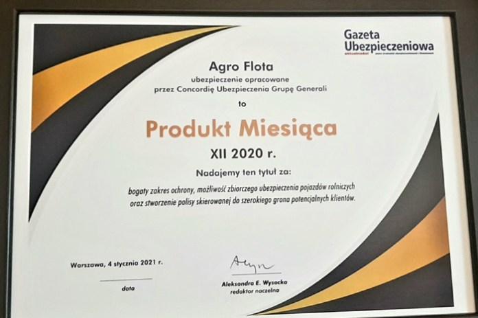 Agro Flota Concordii Polska najlepszym produktem na rynku w grudniu 2020