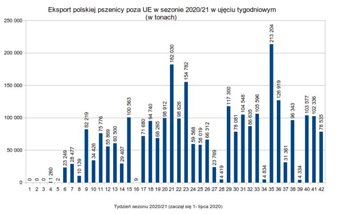 Polski eksport pszenicy miękkiej poza UE w ujęciu tygodniowym: