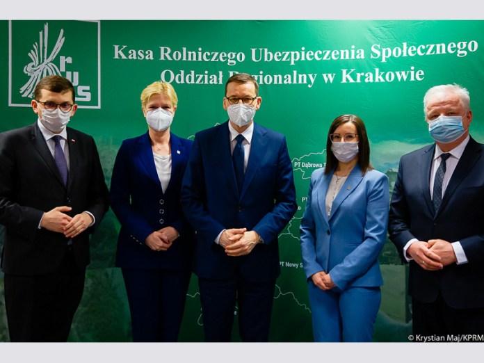 Prezes Rady Ministrów Mateusz Morawiecki z wizytą w OR KRUS w Krakowie