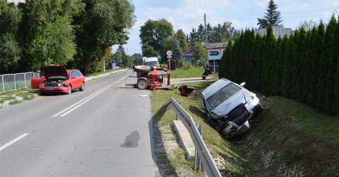 rolnik, wypadek na wsi, wypadki na wsi, wypadek ciągnika, policja