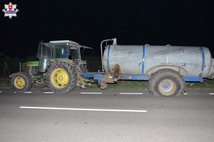 Policja Lubelska, Zakalinki Kolonia, wypadek, wypadek na wsi, ciągnik,