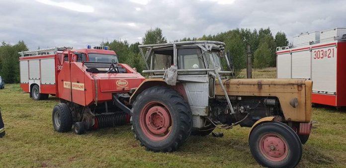 Prasa urwała rękę rolnikowi, wypadki na wsi, wypadek na polu, OSP Choroszcz