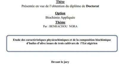 Etude des caractéristiques physicochimiques et de la composition biochimique d'huiles d'olive issues de trois cultivars de l'Est algérien