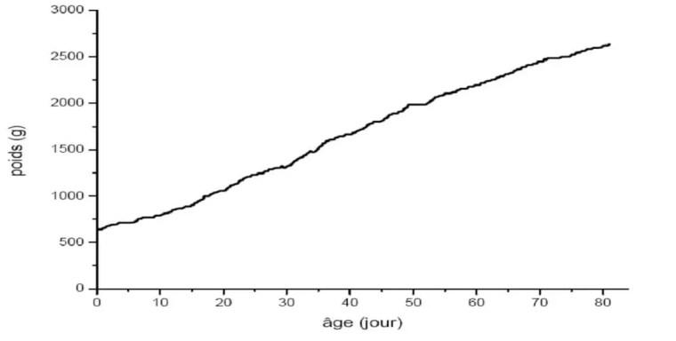 Figure 1 : Evolution du poids vif en fonction de l'âge (LAFOLAY, 1985)