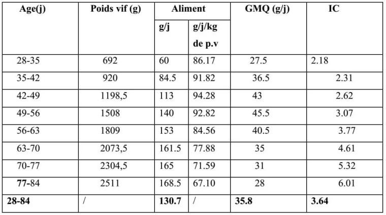 Tableau N°3 : Performances zootechniques moyennes entre 28 et 84 jours du lapin de chair de souche améliorée (LAFFOLAY, 1985).