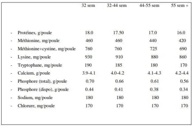 Tableau 6 : Besoins journaliers en production par poule (Anonyme 9,2004)