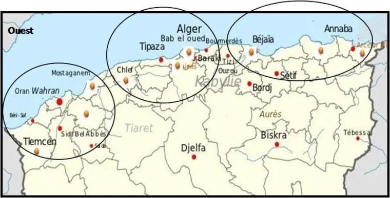 Figure 5 : la répartition des zones productives des agrumes en Algérie