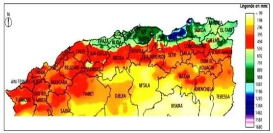 Figure 2 - Répartition des précipitations dans le nord de l'Algérie (FAO, 2005)