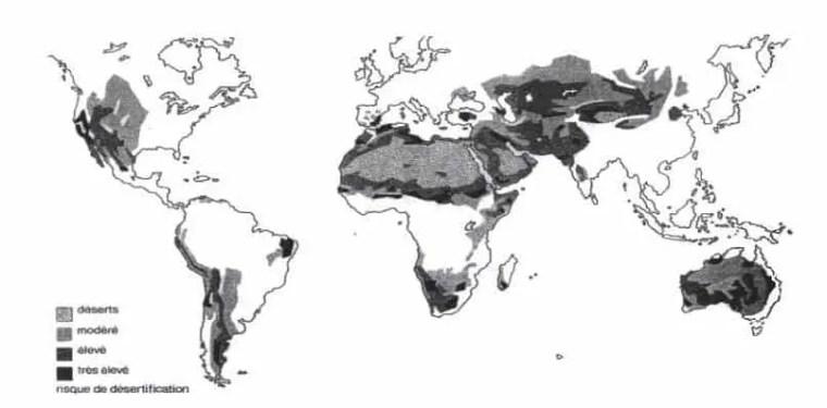 شكل (1) :مختلف مناطق العالم المهددة بالتصحر, in Ramade, 1987, op. cit., p. 156).