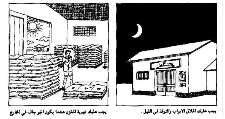 إغلاق النوافذ والأبواب إذا كان الجو ممطر وكذلك خلال المساء عندما تكون الرطوبة أعلى ما يمكن وكذا في فترات الصباح الباكر (وقت تكون الندى).