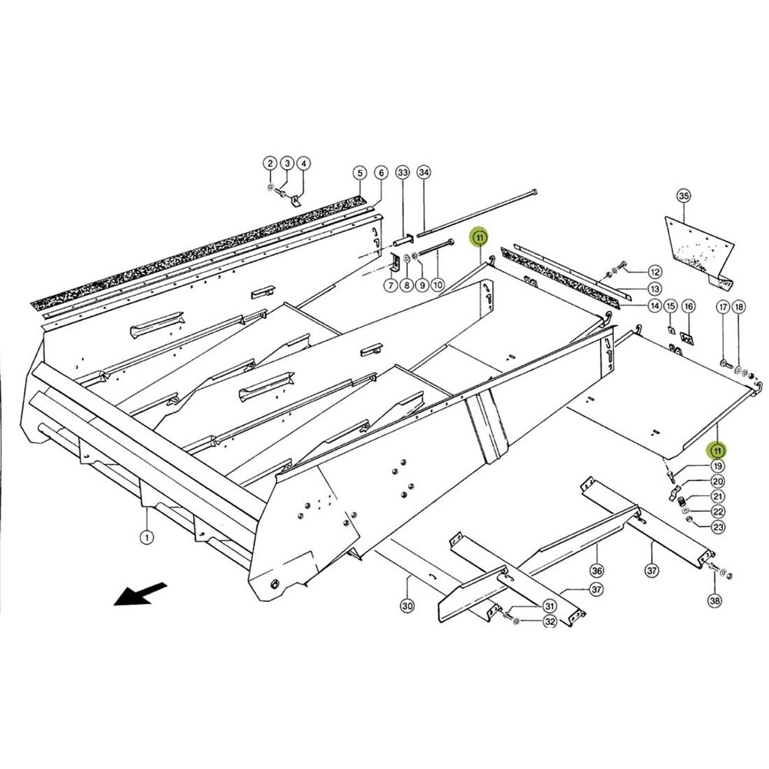 Combine Parts Claas Cleaning Chaff door. OEM# 6871680