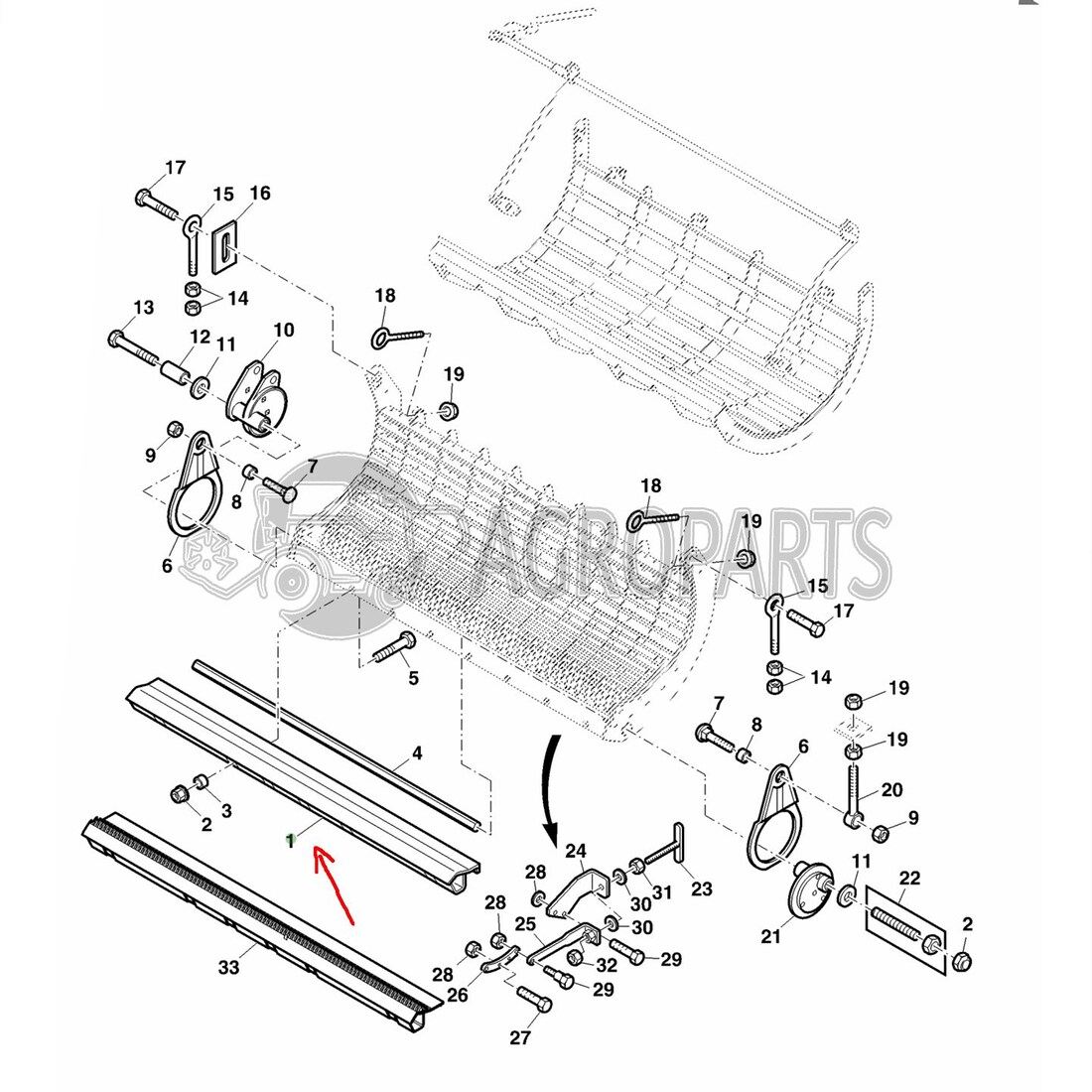Separatuion grate assembly angle for John Deere combines
