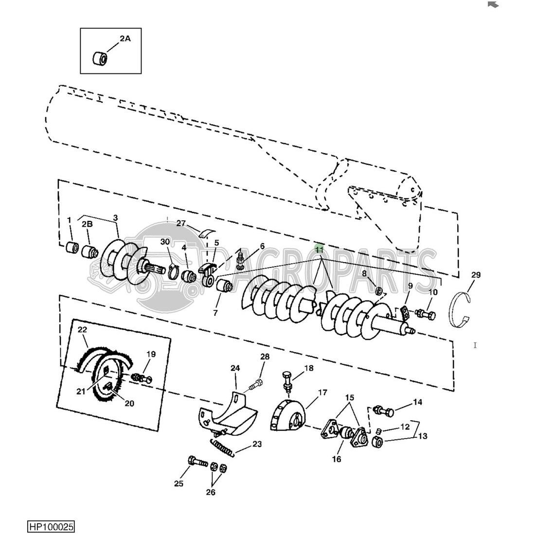 Horizontal unloading auger for John Deere combines
