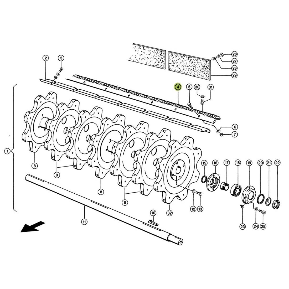 Rasp Bar / Beater Bar Set (2 pcs RH+RH) for Claas combine