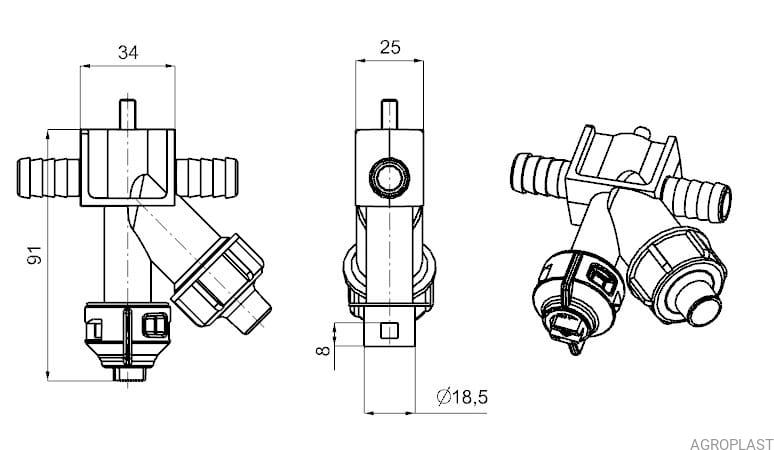 Nozzle holder with diaphragm cut-off valve (Arag-system