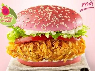KFC presenta una hamburguesa con pan de pitahaya en Vietnam