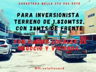 ( PARA INVERSIONISTA) Terreno de 1,820Mts2. Con locales comercial y Vivienda.