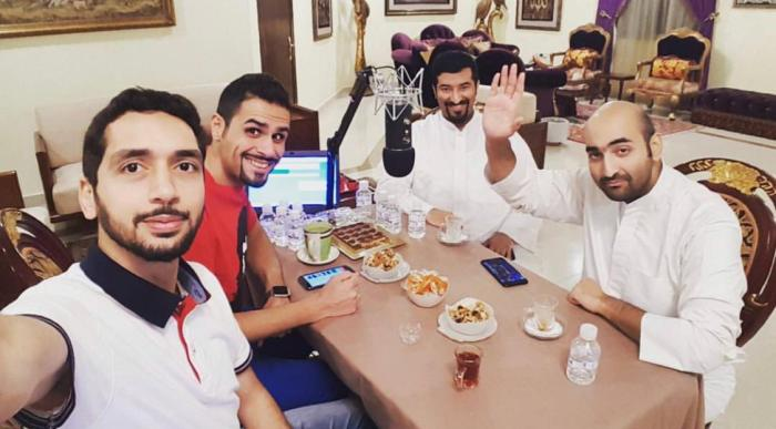 (From left) Husain al-Dulaimi, Yaaqoob al-Hussaini, a guest, and Ali al-Duhaish take a selfie while recording an episode for Lucky Generation Gamers