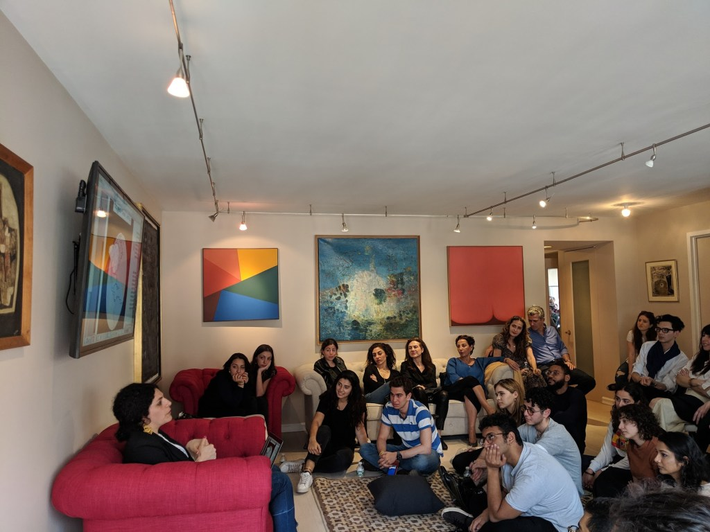 At the New York Cultural Majlis on April 13, 2019, Céline Semaan discusses postcolonialism, design, and sustainability (photo by Sultan Sooud Al Qassemi)