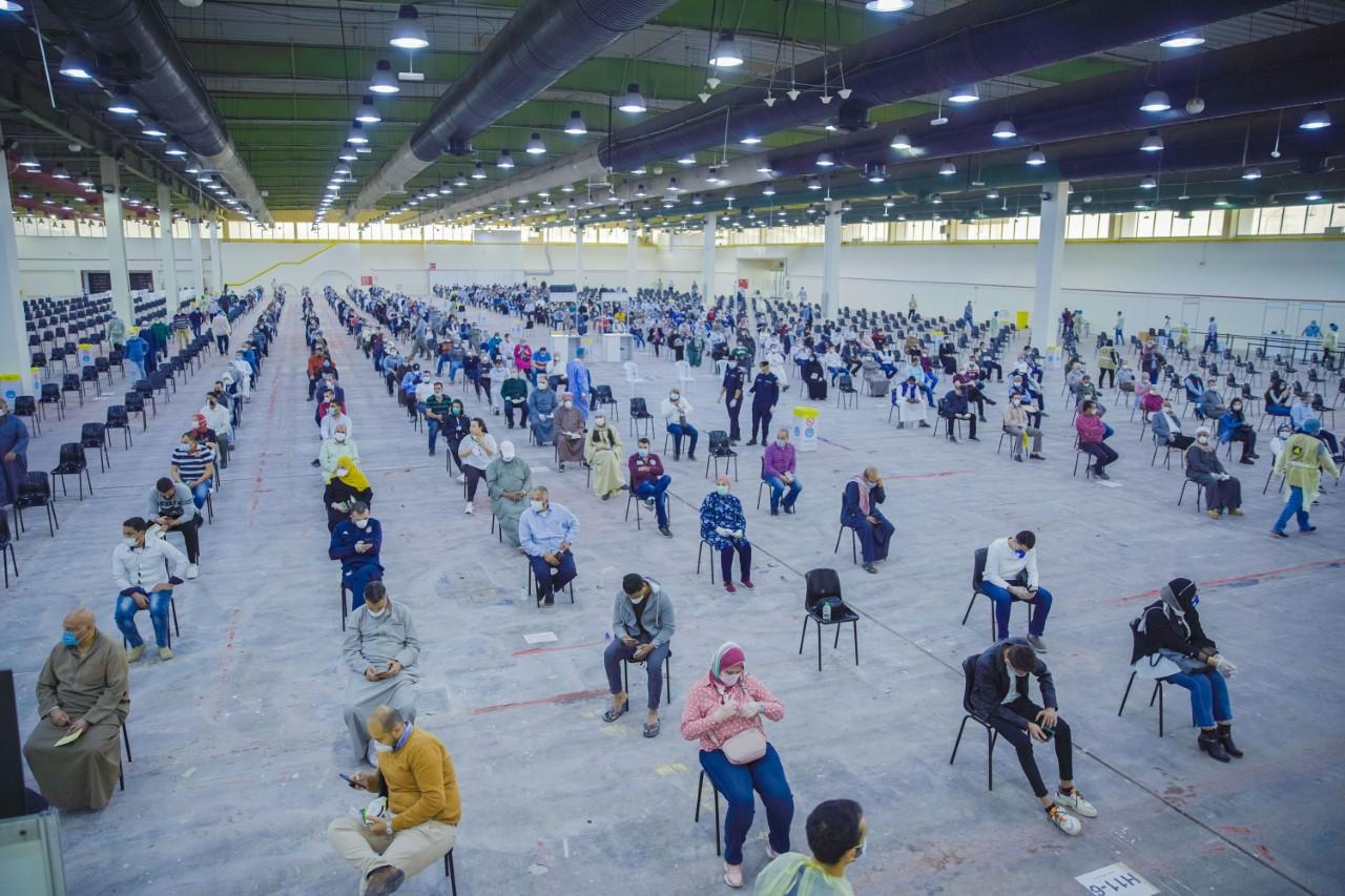 موقع فحص فيروس كورونا في أرض المعارض الدولية في الكويت، 17 مارس 2020. (تصوير عبد الرحمن البداح)