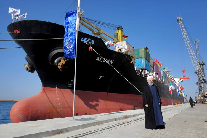 Iranian President Hassan Rouhani poses during the inauguration a newly built extension of the port of Chabahar, southeastern Iran, Dec. 3, 2017. (AP Photo/Ebrahim Noroozi)