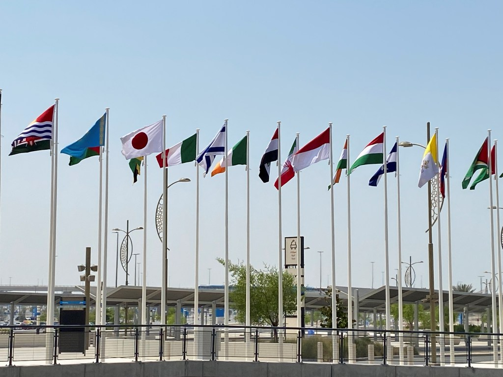 Flags of countries participating in Expo 2020 Dubai at the world exposition site in Dubai, United Arab Emirates, Sept. 14. (REUTERS/Alexander Cornwell)