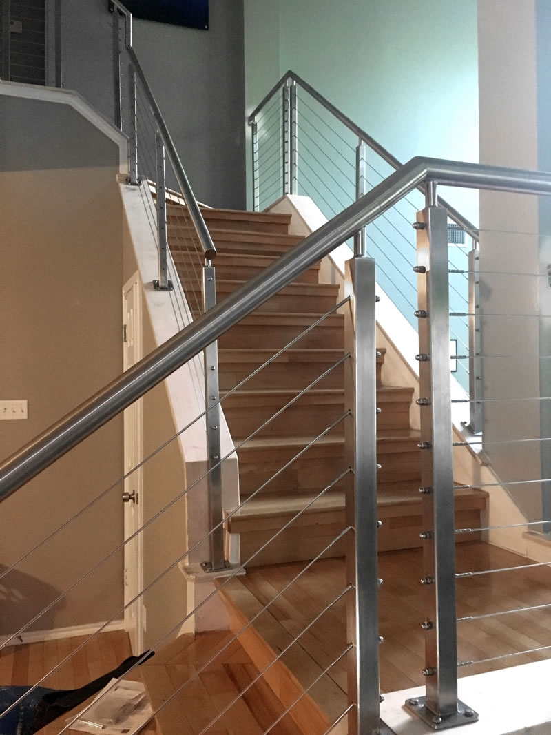 Typical To Extraordinary Cable Railing Staircase Agsstainless Com   Wood And Cable Stair Railing   Stairway   Wrought Iron   Staircase Railing   White   Vertical