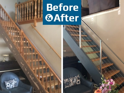 Before And After Archives Agsstainless Com | Diy Metal Stair Railing | Outdoor | Exterior | Beginner | Indoor | Metal Baluster Drywall