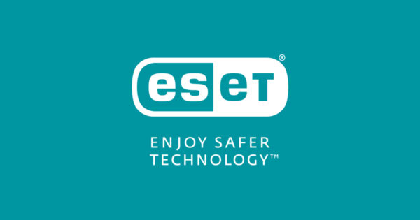"Logo ESET ""Enjoy safer technology"" sobre fondo aguamarina"
