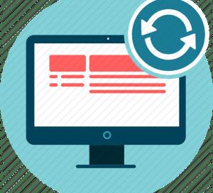 Icono pantalla de ordenador con símbolo de renovar